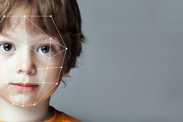 Boy - with simplified mesh of his face illustrated.